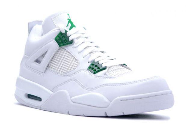 Air Jordan 4 (IV) Retro - White / Chrome - Classic Green