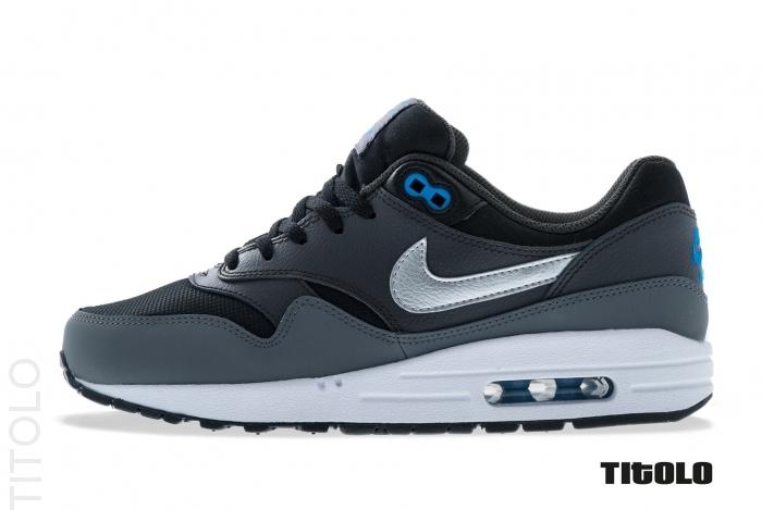 Nike Air Max 1 GS - Black / Metallic Silver - Photo Blue (4)