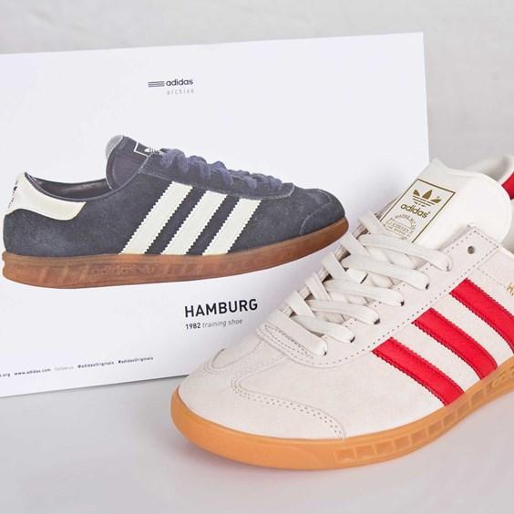 adidas Originals Hamburg - Chalk White / Red - Gum • KicksOnFire.com