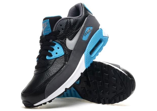 newest c00e6 c50a5 Nike Air Max 90 - Black / Blue Legion - Tumbled Leather ...