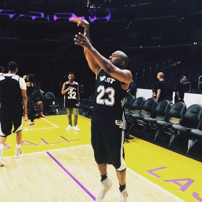 new arrival 25c05 6f0d3 Kanye West Hoops On His Birthday With The adidas Yeezy 750 ...