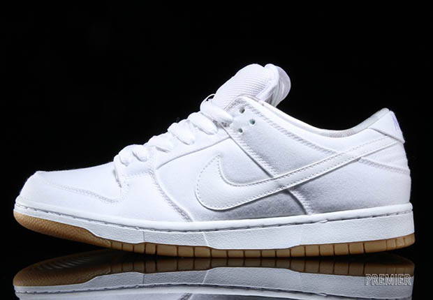 super popular ab5fc 321f8 This Nike SB Dunk Low Gets An All White Canvas Upper ...