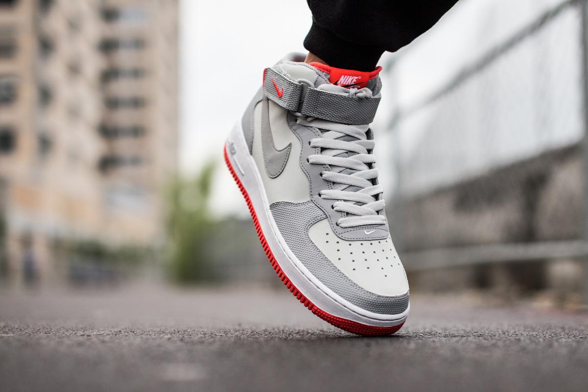 "Nike Air Force 1 Mid 07 ""Grey/Bright Crimson"" • KicksOnFire.com"