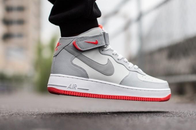 "Nike Air Force 1 Mid 07 ""GreyBright Crimson"" •"