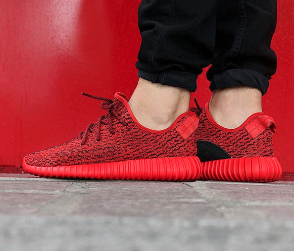 half off a6d76 699e3 All Red adidas Yeezy 350 Boosts Done Right • KicksOnFire.com
