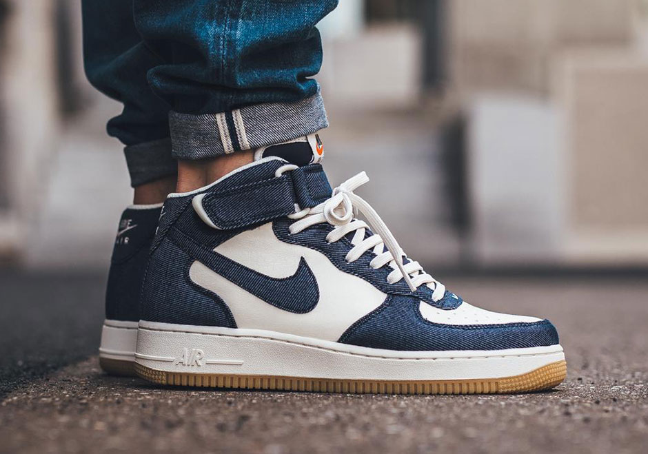 best loved d77a9 3f5e7 Denim Overlays Appear On This Nike Air Force 1 Mid ...