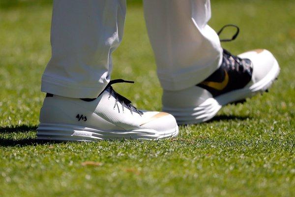 buy popular 6baf9 cb114 Masters Kicks  Rory McIlroy Wears Black And Gold Nike Lunar Control 4 iD In  Honor Of Kobe Bryant • KicksOnFire.com