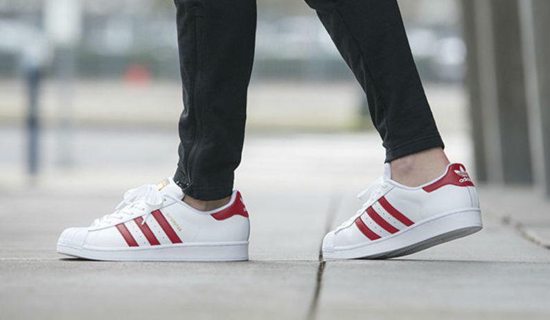 adidas superstar red on feet