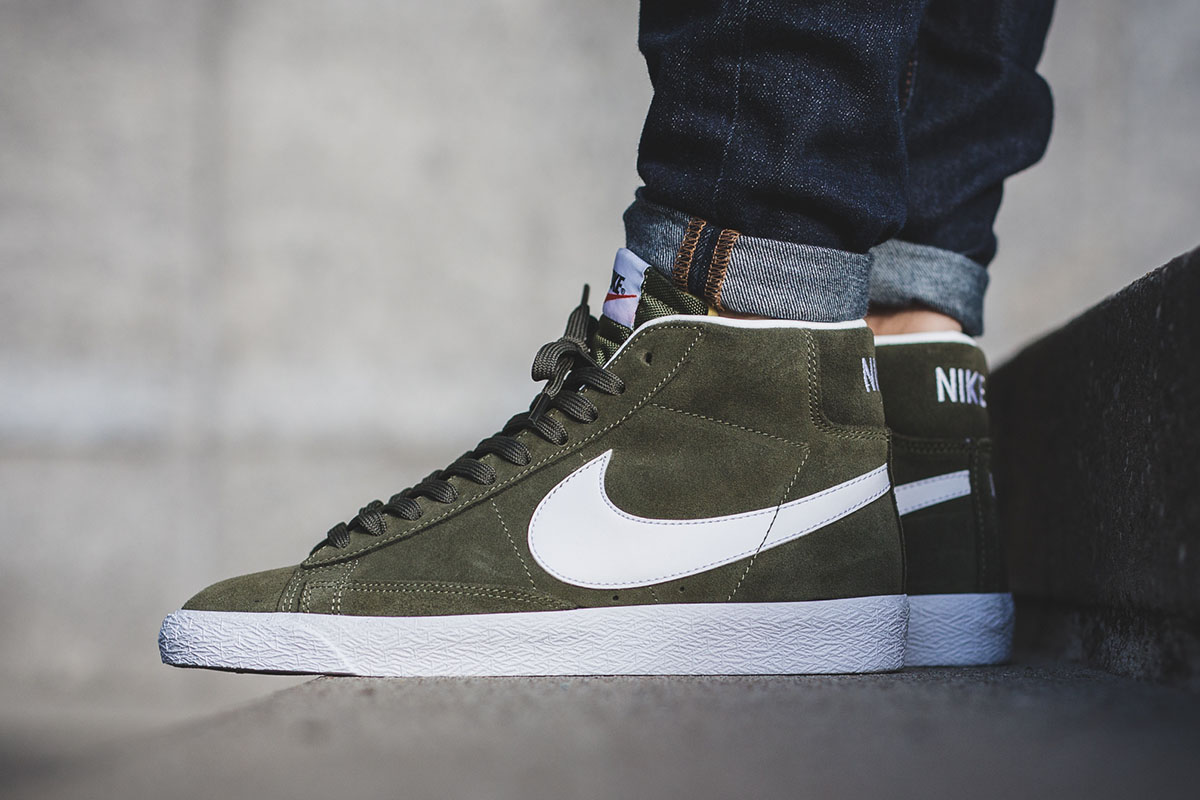 The Latest Nike Blazer Mid Gets Covered In Olive Suede ...