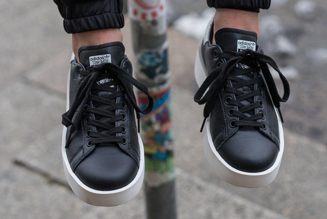 The adidas Stan Smith Bold Comes In Core Black • KicksOnFire.com