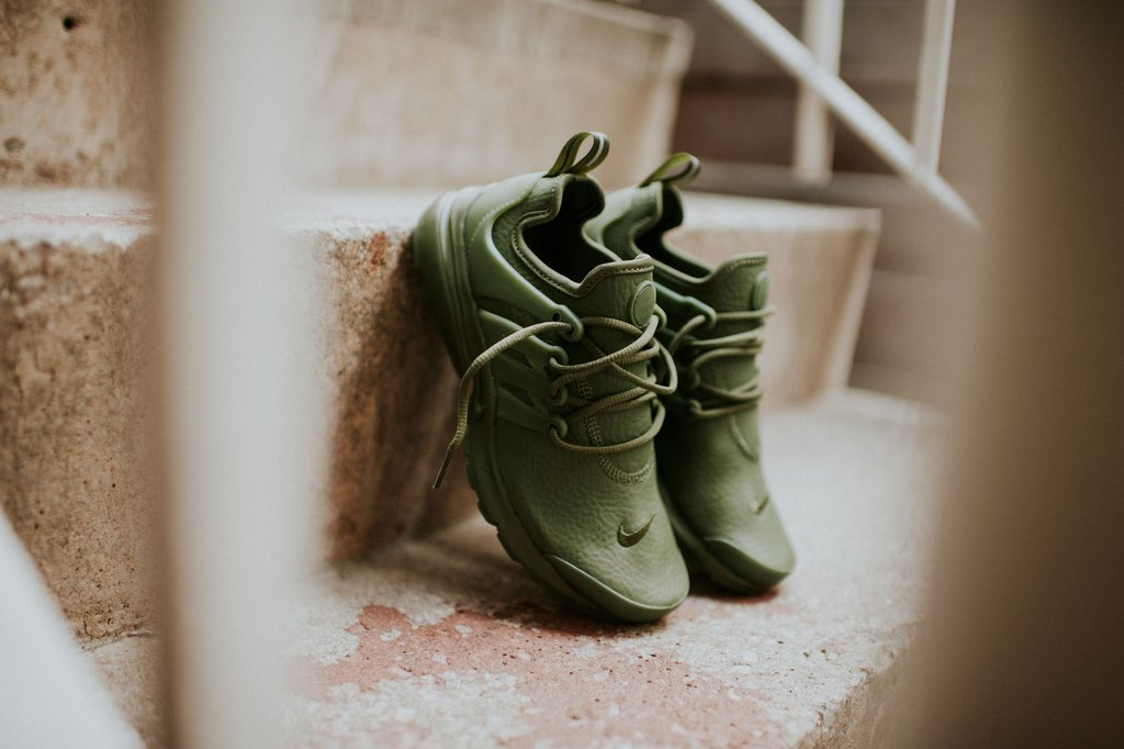 promo code 3fc2a 3405a Legion Green Leather Covers This Nike Air Presto For The ...