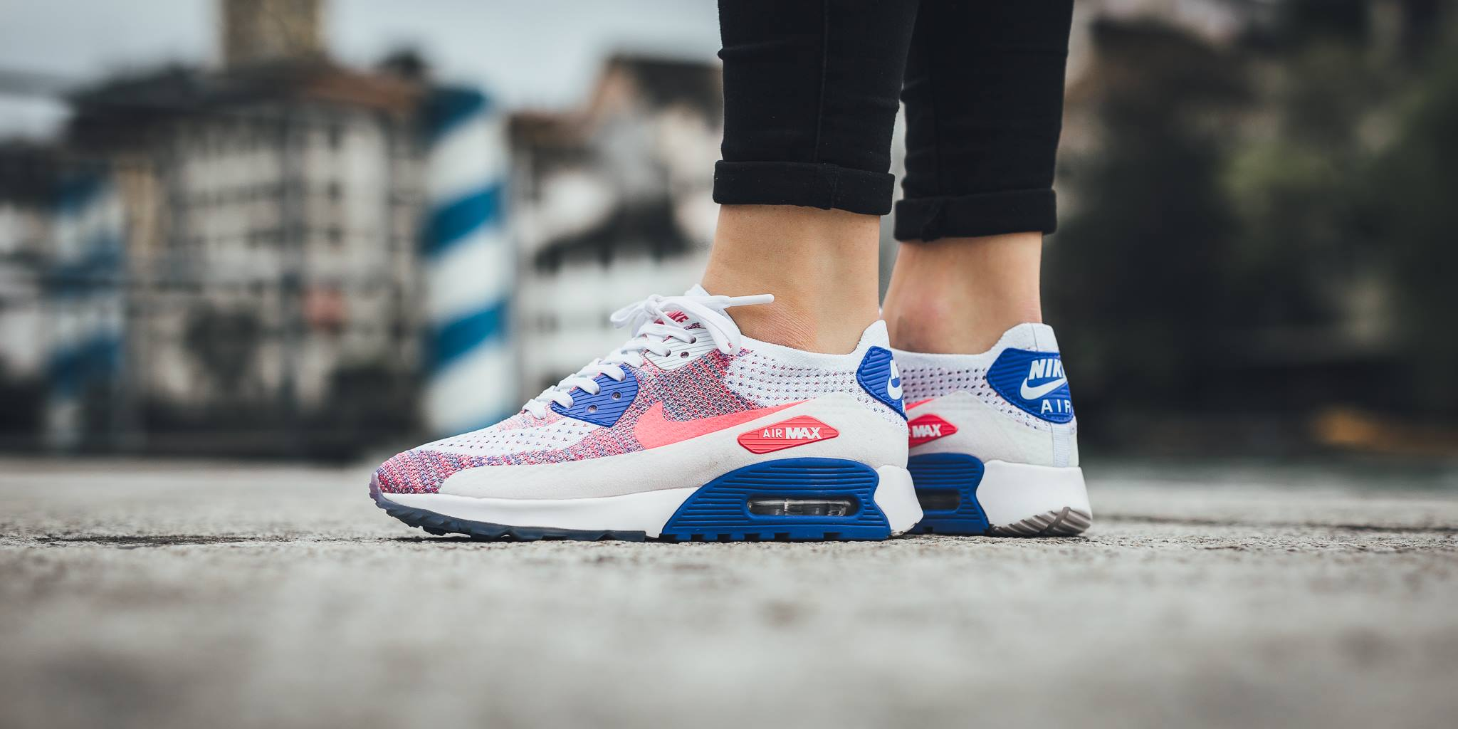 950434da844a7 A brand new women's colorway of the Nike Air Max 90 Ultra 2.0 Flyknit is  unveiled for spring, and it's covered in a mixture of white/racer pink and  medium ...