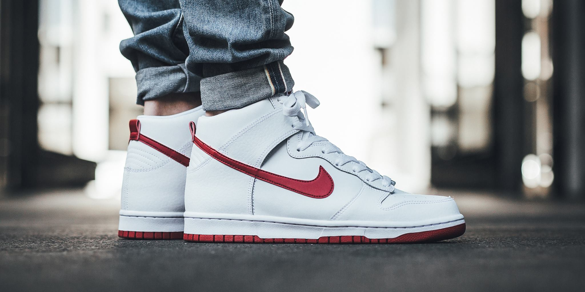 quality design a00e6 a4186 Now Available: Nike Dunk High White Gym Red • KicksOnFire.com