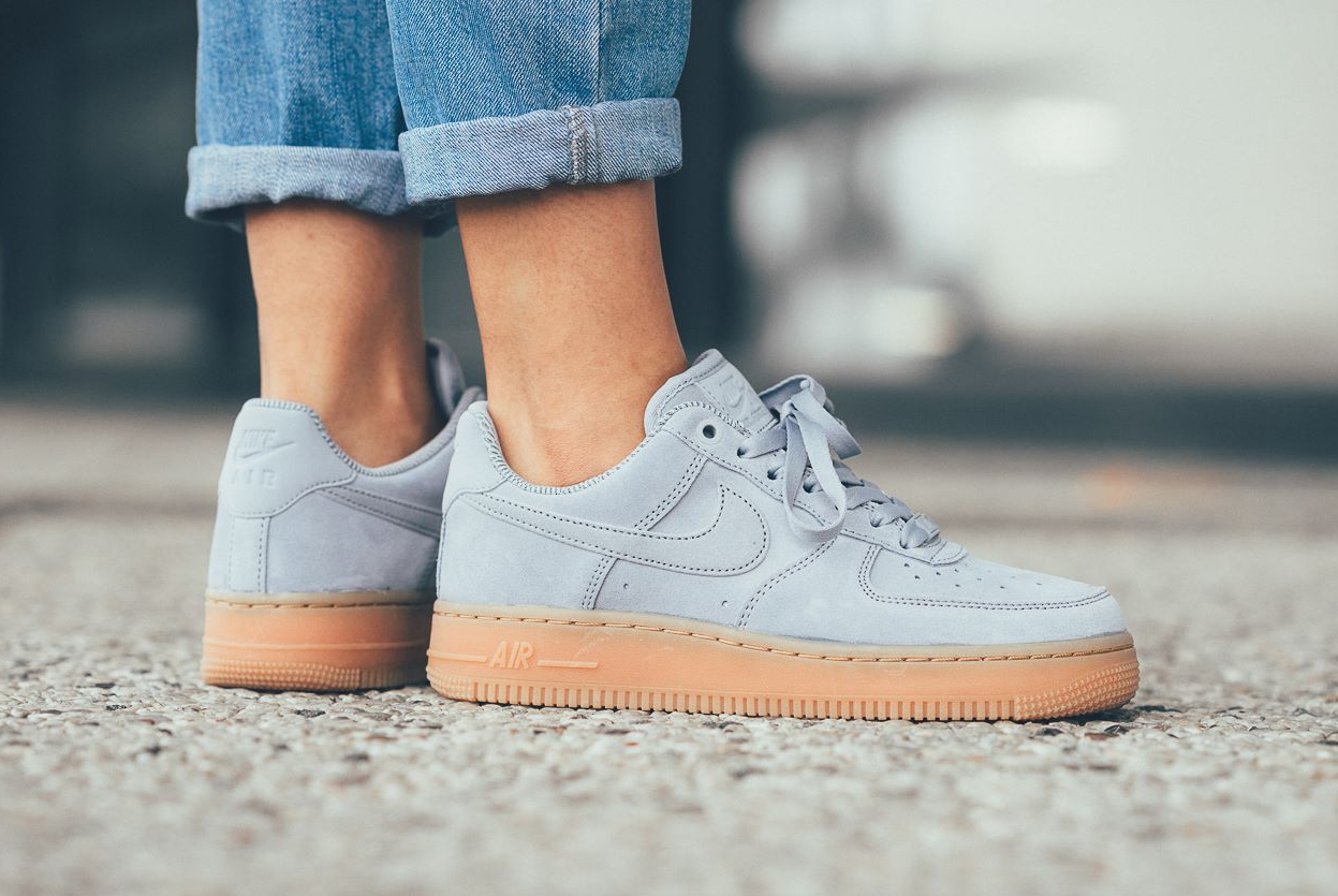 cheaper a801d c5087 The women s Nike Air Force 1 Low gets another monochromatic colorway this  Fall 2017 and in the form of glacier grey. The sneaker is covered in  premium suede ...