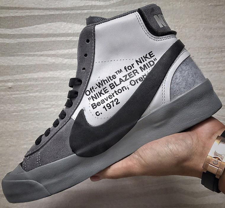 Virgil Abloh x Off White X Nike Blazer Studio MID White Sneakers For Sale