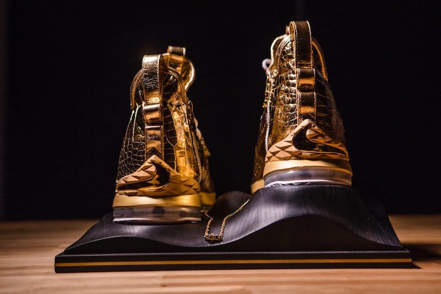 meet 447b8 8c234 This 24 Karat Gold Nike LeBron 15 Is Worth $100,000 ...
