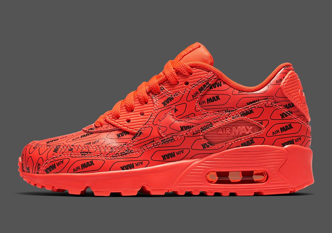 official photos 32a7a c9483 Available Now: Nike Air Max 90 All Over Logo Bright Crimson ...