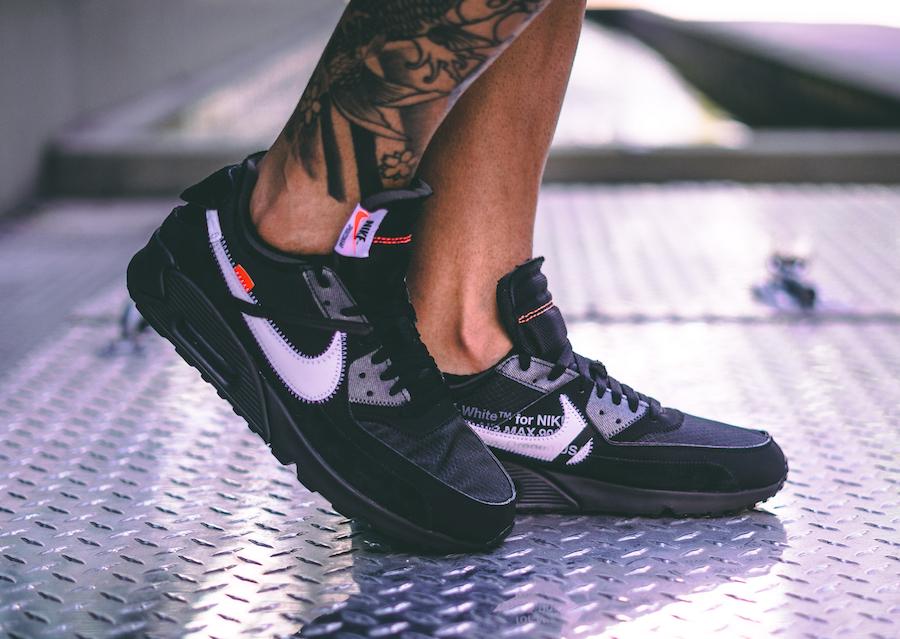 "WomenMen Off White X Nike Air Max 90 ""Black"" BlackCone"