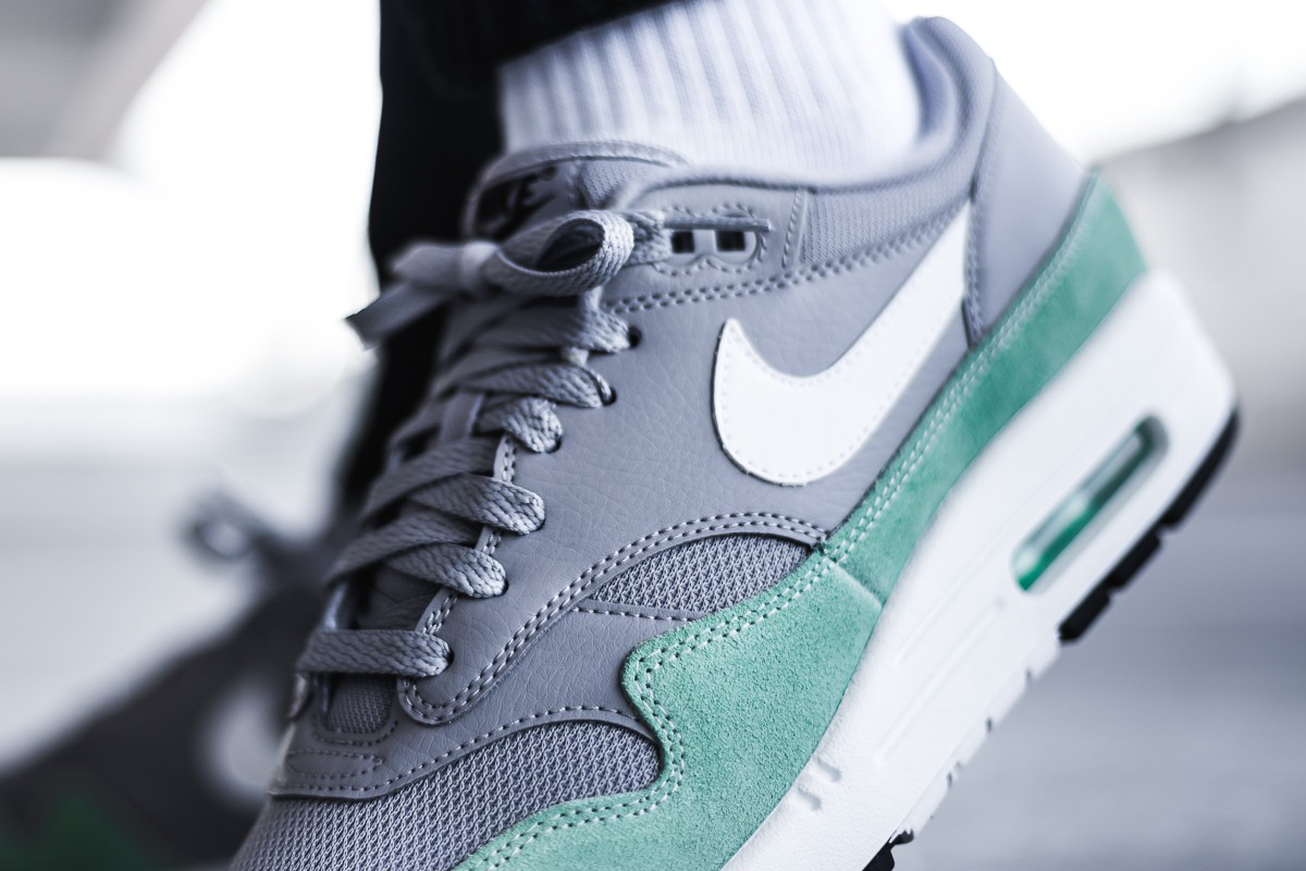 79565da771ee7 The Nike Air Max 1 is back in a brand new colorway of Atmosphere Grey/Fresh  Mint for spring. Made of leather, mesh and suede, the retro runner's upper  is ...