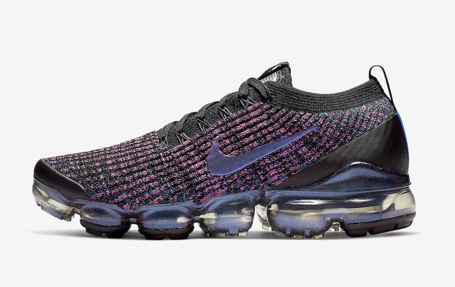 nike air vapormax flyknit 3 black/racer blue women's shoe