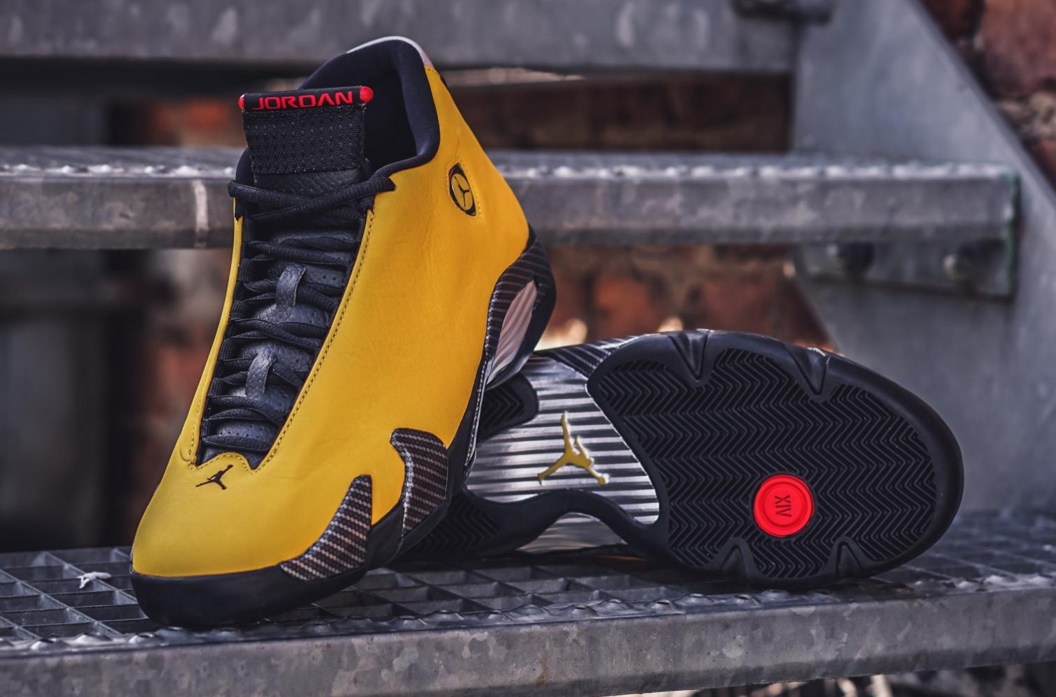 new release best shoes on feet shots of Air Jordan 14 Reverse Ferrari (Yellow Ferrari) • KicksOnFire.com
