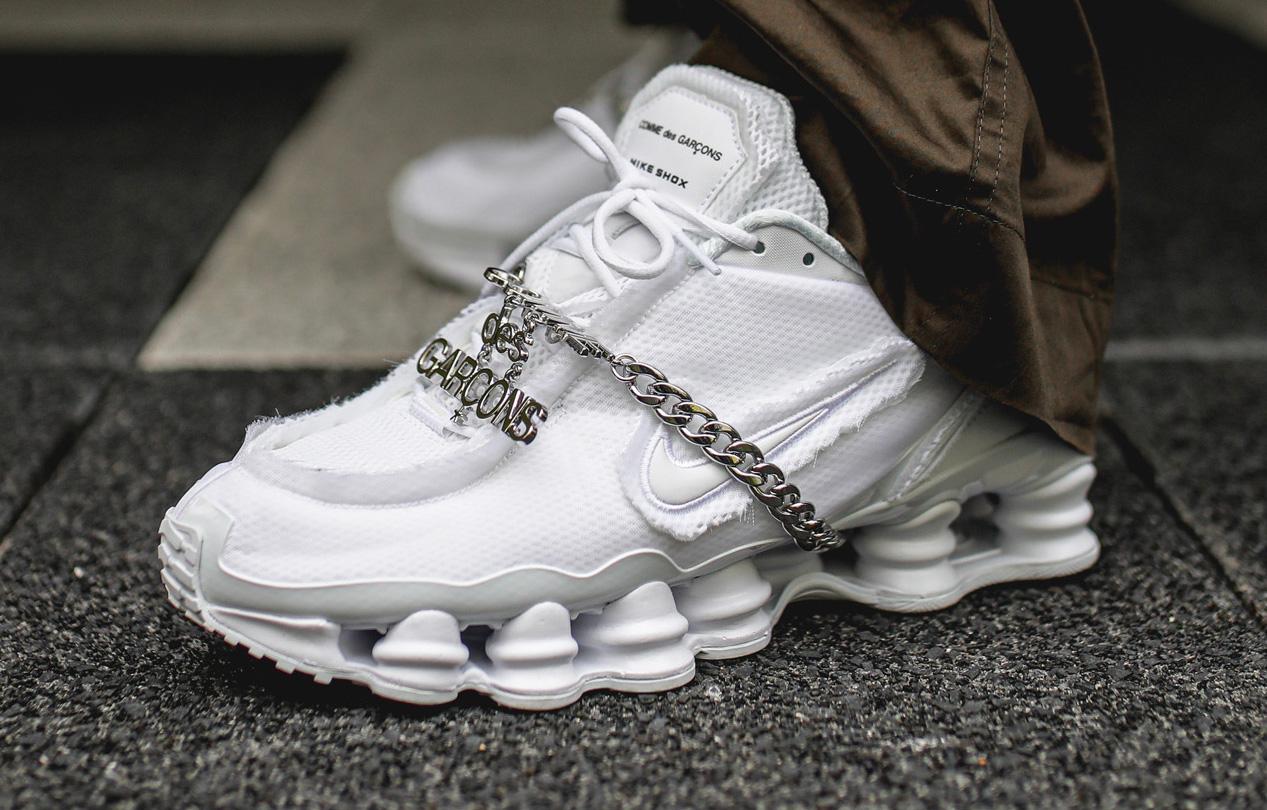 buy good new release sale uk Look For The COMME des GARÇONS x Nike Shox TL Triple White ...