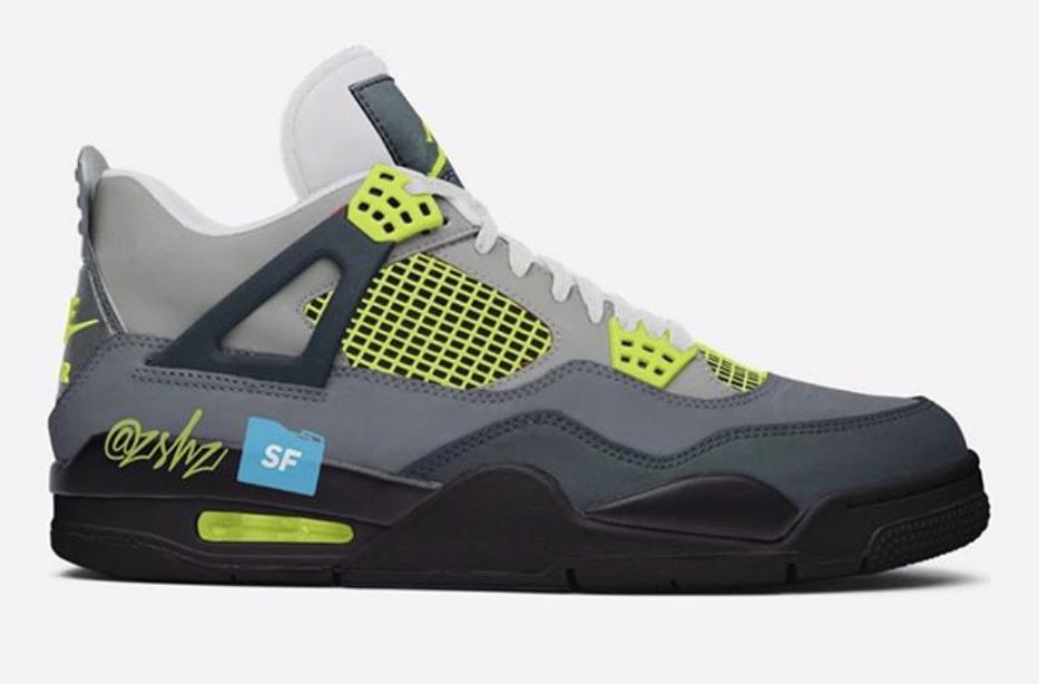"Air Jordan 4 LE ""Air Max 95 Neon"" Cool GreyVolt Wolf Grey For Sale"