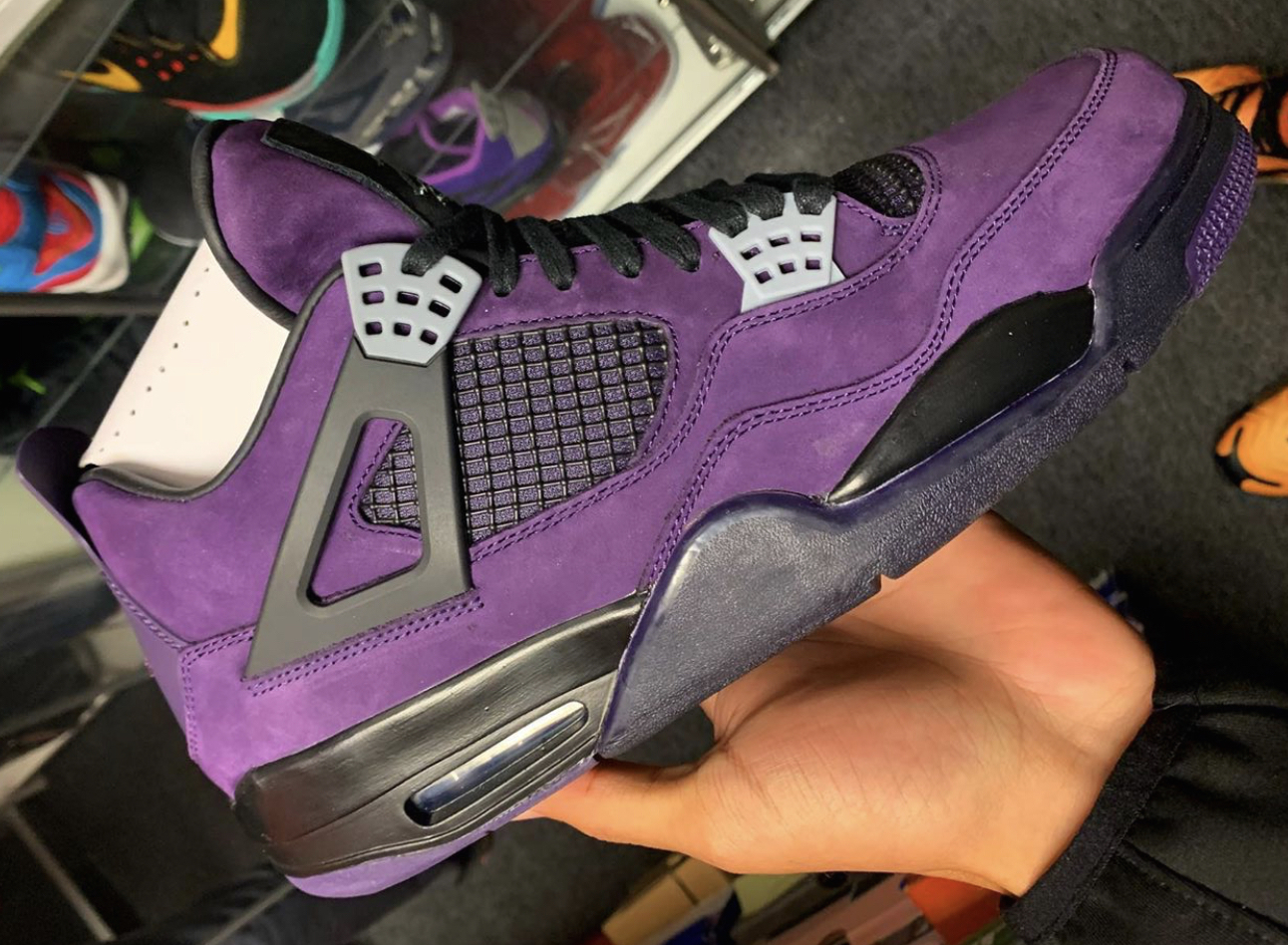 sports shoes 435a9 3b3d6 Get A Closer Look At The Travis Scott x Air Jordan 4 Purple ...