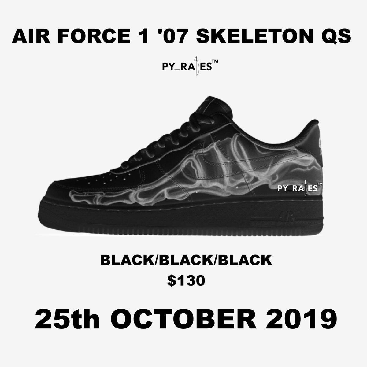 Nike Air Force 1 Low Black Skeleton To Release Next Month