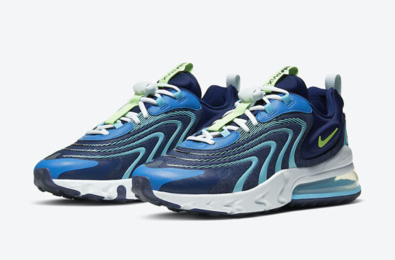 Air Max 270 Nike New Overseas All Navy Color Matching Running Shoes
