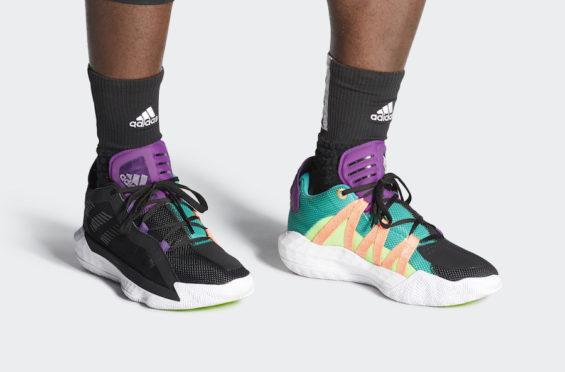 The adidas Dame 6 Black Purple Teal Drops Tomorrow